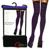 Leg Avenue Purple Black Striped Stockings Thigh Highs Socks