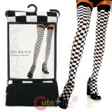 Leg Avenue Black and White Checkerboard Thigh Hights Stockings Socks