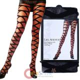 Leg Avenue Sheer Pantyhose with Opaque Woven Criss Cross Stockings Socks