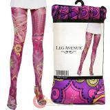Leg Avenue Opaque Thigh Highs Retro Flower Prints Stockings Leggings