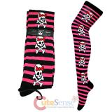Pink Black Striped with Red Bow Skull Crossbones Thigh Highs Stocking