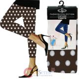 Vintage Brown Polka Dots Capri Leggings Tights
