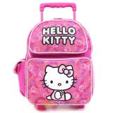 """Sanrio Hello Kitty School Roller Backpack Small 12"""" Rolling Bag :Pink All Over"""