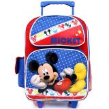 "Disney Mickey Mouse Large School Rolling Backpack 16"" Roller Bag - Mickey Stars"