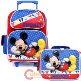 "Disney Mickey Mouse 16"" School Roller Backpack Lunch Bag Set - Mickey Stars"