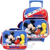 """Disney Mickey Mouse 12"""" Small Roller Backpack with  Lunch Bag Set - Mickey Stars"""