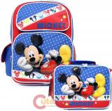 Disney Mickey Mouse Large School Backpack with Lunch Bag Set - Mickey Stars