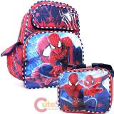 "Marvel Amazing Spiderman  16""  Large School Backpack with  Lunch Bag Set -Double Face"