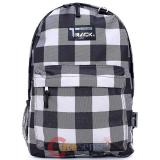 "Grey Wide Checkered  Shcool Backpack 16"" Large  Book Bag"