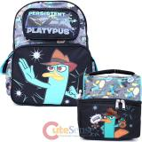 Phineas and Ferb Agent P chool Backpack -16in Persistent Platypus Large Bag with Lunch Bag