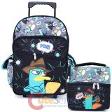 "Phineas and Ferb Agent P Large 16"" School Roller Backpack Pow Perry Bag with Lunch Bag"