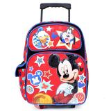 "Disney Mickey Mouse Friends Large School Rolling Backpack 16"" Roller Bag with Goofy Donald"