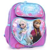 "Disney Frozen 12"" School Backpack  Elsa Anna Olaf Small Bag Purple Snowflakes Heart"
