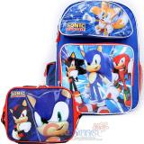 "Sonic The Hedgehog 16"" Large School Backpack Lunch Bag Set -Sonic Time"