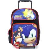 "Sega Sonic The Hedgehog  Roller School Backpack 16"" Large Bag -Sonic Time"