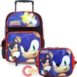 "Sonic The Hedgehog 16"" Large School Roller Backpack Lunch Bag Set - Sonic Time"
