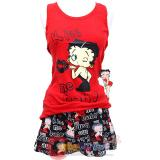Betty Boop Pajama Set Kiss Me Baby Red Tank Top and Black Short Pants -S