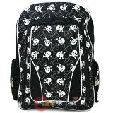 Black and White Stars Skull Crossbones All Over Large School Backpack