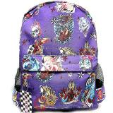 Various Skulls Tattoo Prints Over Large School Backpack -Purple