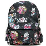Various Skulls Tattoo Prints Over Large School Backpack -Black
