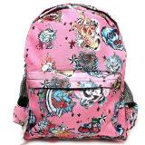 Various Skulls Tattoo Prints Over Large School Backpack -Pink