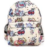 Various Skulls Tattoo Prints Over Large School Backpack -Beige
