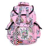Various Skulls Tattoo Prints Over Large School Backpack Knapsack Bag -Pink