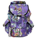 Various Skulls Tattoo Prints Over Large School Backpack Knapsack Bag -Purple