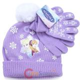 Disney Frozen Elsa Anna Cuffed Beanie Gloves set with Fully Ball -Purple Snowflakes