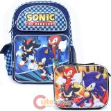 Sega Sonic The Hedgehog Large School Backpack Lunch Bag Set -Sonic Shadow Knuckles