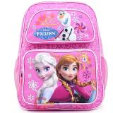 "Disney Frozen Elsa Anna 14"" School Backpack Oalf Medium Bag -Pink Floral Snowflake"