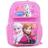 "Disney Frozen Elsa Anna 16""  School Backpack with Olaf  Large Bag -Pink Floral Snowflake"