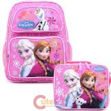 "Disney Frozen 14"" Medium School Backpack Lunch Bag 2pc Set Elsa Anna Bag -Pink Floral Snowflake"