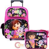 Dora The Explorer Large School Roller Backpack Lunch Bag Set :Flower Garden