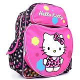 "Sanrio Hello Kitty School Backpack: 16"" Large Bag -Leopard Pink Bow"