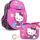 Sanrio Hello Kitty Large School Backpack Lunch Bag 2pc  Set :Leopard Pink Bow