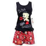 Betty Boop Pajama Set Kiss Me Baby Black Tank Top and Red Short Pants -M