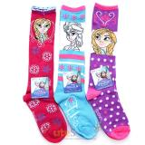 Disney Frozen Elsa Anna Knee High Kids Socks Set 3 Pair
