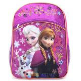 "Disney Frozen Elsa Anna 16""  School Backpack with Olaf  Large Bag -Purple Floral Snowflake"