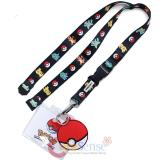 Pokemon Lanyard Keychain ID Holder with Bulbasaur Charmander Pokeball Charm Dangle