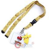 Pokemon Lanyard Keychain ID Holder Pikachu All Over with PVC Charm Dangle