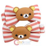 San X Rilakkuma Pink Stripe Dots Hair Pin Clip 2pc Set -Dark Bear