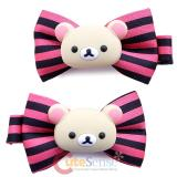 San X Rilakkuma Korilakkuma  Pink Stripe Dots Hair Pin Clip 2pc Set -Light Bear