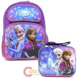 "Disney Frozen 16"" Large School Backpack Lunch Bag 2pc Set Elsa Anna Bag -Purple Snowflake"