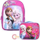 "Disney Frozen 16"" Large School Backpack Lunch Bag 2pc Set Elsa Anna Sister Forever"
