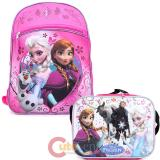 "Disney Frozen 16"" Large School Backpack Lunch Bag 2pc Set Elsa Anna Pink Floral"