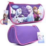 Disney Frozen Elsa and Anna Zippered  Pencil Case Cosmetic Half Moon Pouch Bag - Purple