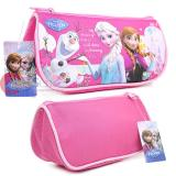Disney Frozen Elsa and Anna Zippered  Pencil Case Cosmetic Half Moon Pouch Bag - Hot Pink