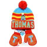 Thomas Tank Engine Friends Beanie Mitten Gloves Set - College Stripe Cuff Red
