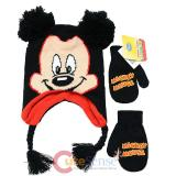 Disney Mickey Mouse 3D Ear Laplander Beanie and Gloves Set - Mickey Face